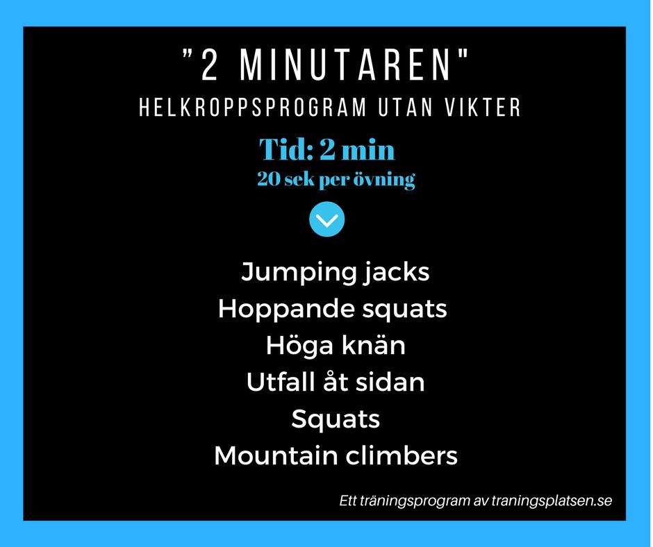 träningsprogram 2 minuter