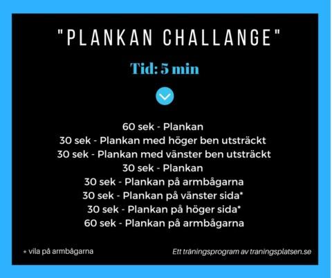 Träningsprogram Plankan challange