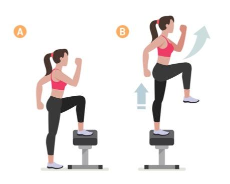 step ups på bänk, benträning, rumpa
