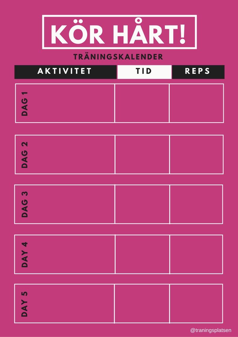 träningskalender, träningsschema,