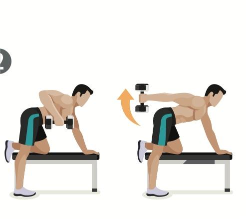 kickbacks på bänk, stora muskler, snygga armar