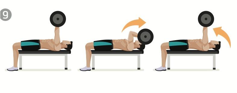 tricepspress liggande, en träningsövning för stora armar