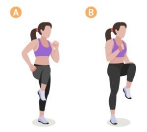 höga knän, träningsövning, kondition