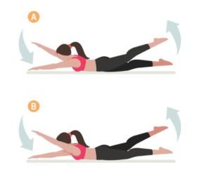 ryggövning, ryggresning diagonal, ryggträning hemma